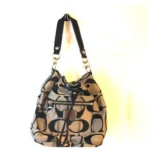 Black and Silver Coach Signature Bucket Bag